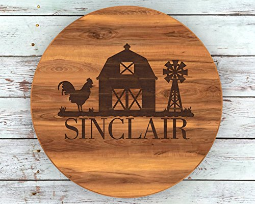 Personalized Lazy Susan, Farmhouse Decor, Fixer Upper, Name Sign, Custom Lazy Susan, Personalised Lazy Susan, Custom Turntable, Barn Decor, Rooster Decor, ()