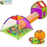 Bakaji Tenda Igloo per bambini con 200 palline + Tunnel + Casetta...
