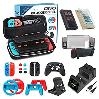 All in One Switch Accessories Bundle,OIVO Kit with Carry Case, Joy-con Controller Charging Dock,Switch Playstand,Game Case,Protective Case,Screen Protector,Grip and Steering Wheel for Nintendo Switch