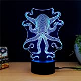 Octopus Creative Creature 3D Acrylic Visual Home Touch Table Lamp Art Decor USB LED Kid's Nightlight Devilfish 3D Led Lamp Animal Light Led Desk Lamp