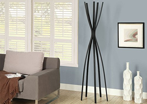 Monarch Metal Contemporary Coat Rack, 72-Inch, Satin Black