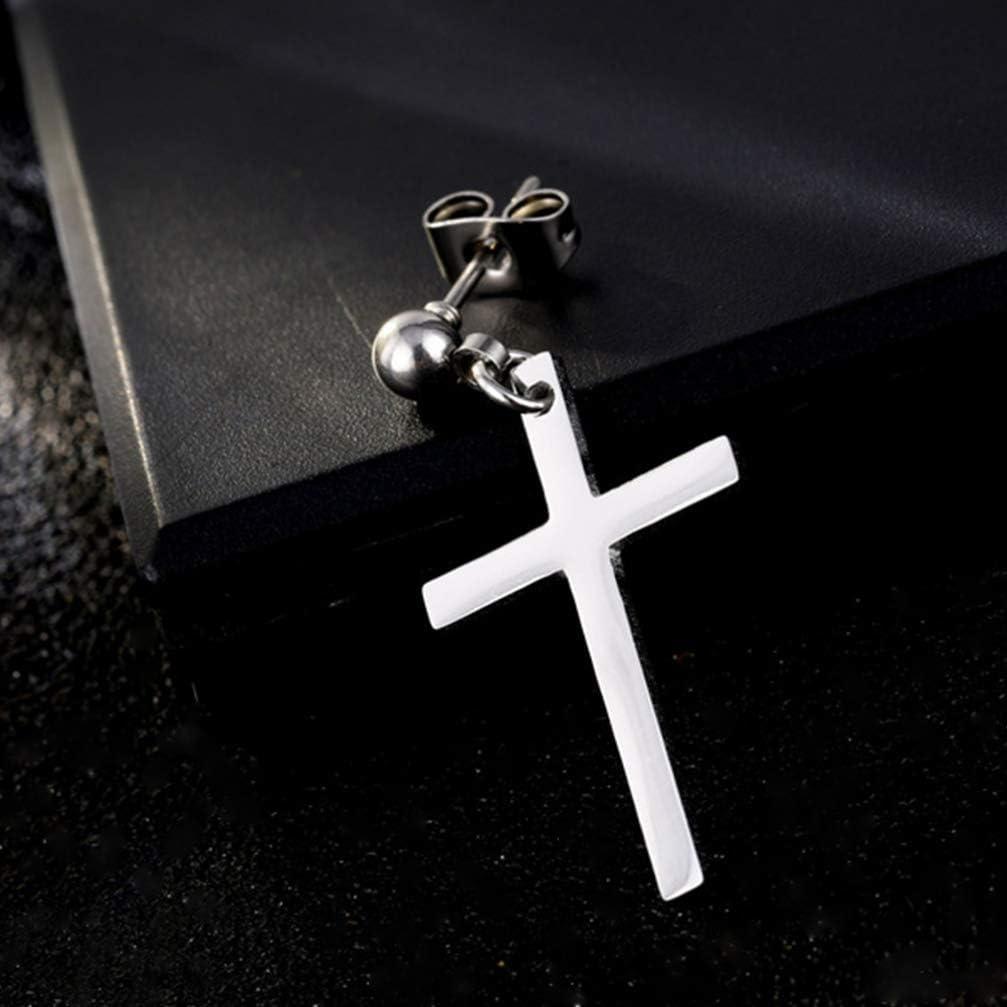Happyyami orecchini a croce in acciaio inossidabile pendenti orecchini a goccia piercing gioielli per uomo e donna