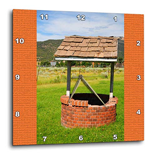 (3dRose Jos Fauxtographee- Wishing Well - A wishing well with an orange frame on both sides - 15x15 Wall Clock (dpp_288627_3))
