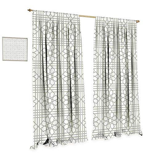 cobeDecor Grey Thermal Insulating Blackout Curtain Arabesque Pattern Mosaic Tiles with Moroccan Floral Traditional Symmetric Work of Art Print Patterned Drape for Glass Door W72 x L84 ()