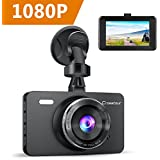 """Dash Cam, Crosstour 1080P Car DVR Dashboard Camera Full HD with 3"""" LCD Screen 170°Wide Angle, WDR, G-Sensor, Loop Recording and Motion Detection"""