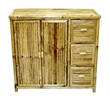 Bamboo Storage Console Cabinet with Doors and Drawers in Natural