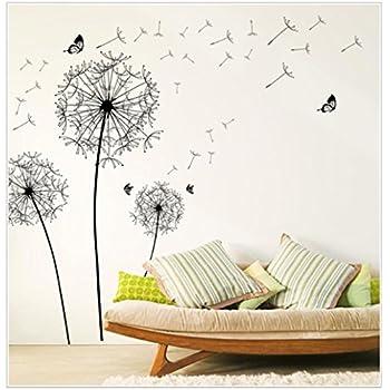 Great Sandistore Diy Home Decor New Design Large Black Dandelion Wall Sticker Art  Decals PVC (A Part 32