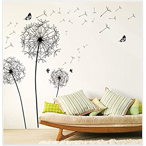 Sandistore Diy Home Decor New Design Large Black Dandelion Wall Sticker Art  Decals PVC (A)