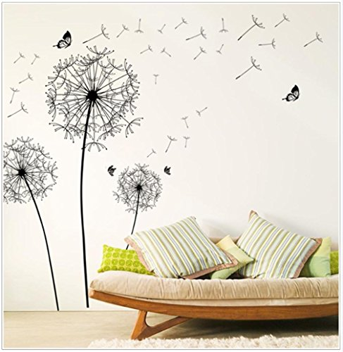 Cheap  Sandistore Diy Home Decor New Design Large Black Dandelion Wall Sticker Art..
