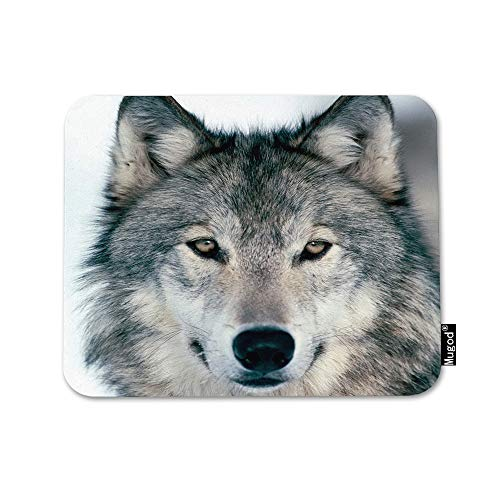 - Mugod Grey Wolf Mouse Pad Winter Alpha Male Timber Wolf Face Portrait Gray Black Mouse Mat Non-Slip Rubber Base Mousepad for Computer Laptop PC Gaming Working Office & Home 9.5x7.9 Inch