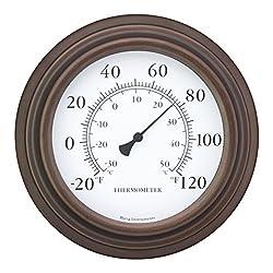 Bjerg Instruments 8 Decorative Indoor/Outdoor Patio Wall Thermometer (Bronze)