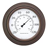 8'' Decorative Indoor / Outdoor Patio Wall Thermometer (Bronze)