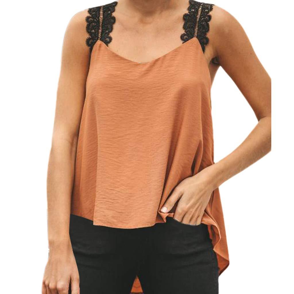 Women Sleeveless Strap Vest, Ladies Lace Crew Neck Blouse Summer Plus Size Cami T-Shirt Clothes