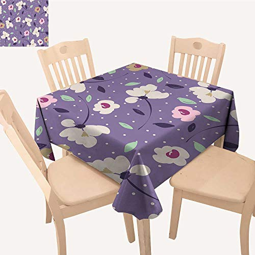 UHOO2018 Square/Rectangle Polyester Table Cloth Pink on Violet Flowers in jpg Easy Care Spillproof,23 x -