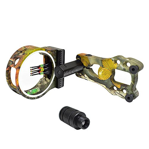 Wolf Archery Camouflage 5-Pin .029 Fiber Optics Bow Sight with LED Sight Light Compound Bow Camo