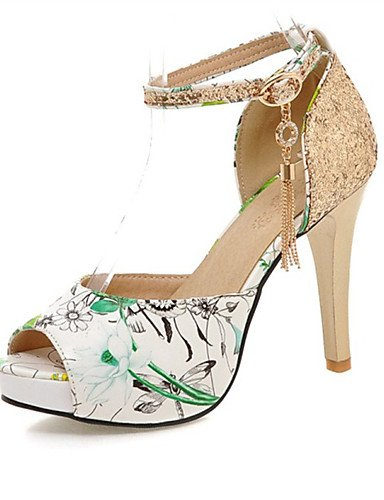 LFNLYX Zapatos de mujer-Tacón Stiletto-Tacones / Punta Abierta-Sandalias-Oficina y Trabajo / Vestido / Fiesta y Noche-Purpurina / Semicuero- Blue
