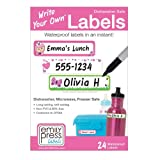 Emily Press Labels - Write Your Own Waterproof Labels for Kids for Back to School, Preschool and Daycare - Luvy design. BPA-Free, Non-PVC.