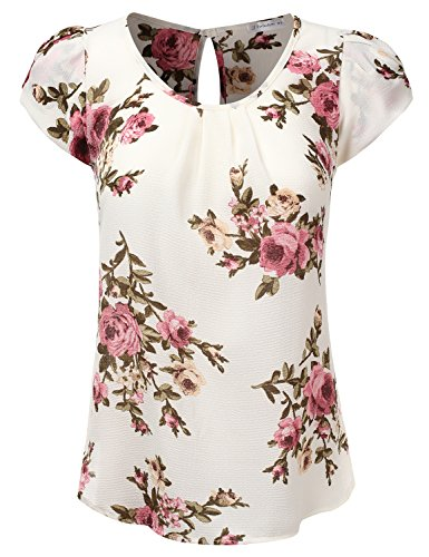 JJ Perfection Women's Petal Short Sleeve Woven Blouse Ivory L