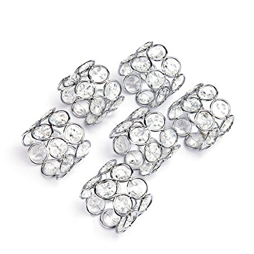 Ring Deco Crystal (Feyarl Sparkly Silver Napkin Rings Crystal Beads Napkin Holders Wedding Centerpieces Napkin Rings Special Occasions Celebration Romantic Candlelit Banquet Festival Decoration Napkin Holder (6pcs))