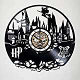 Harry Potter - Magic School Hogwarts - Handmade Vinyl Record Wall Clock - Quidditch - Snitch - Get unique nursery room or bedroom wall decor - Gift ideas for kids – Fantasy Movie Unique Design