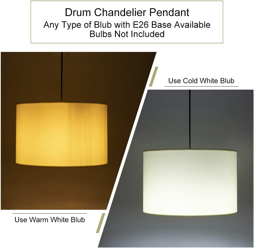 Wellmet 15.8 Inch Drum Pendant Light, 2 Lights Modern Pendant Chandelier, Hanging Ceiling Light Fixture Perfect for Dining Room and Kitchen, Berkshire White - -