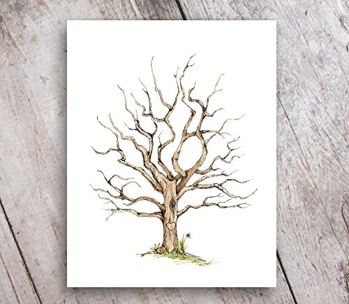 Fingerprint Family Tree Guest Book Alternative 8x10 Print UNFRAMED -