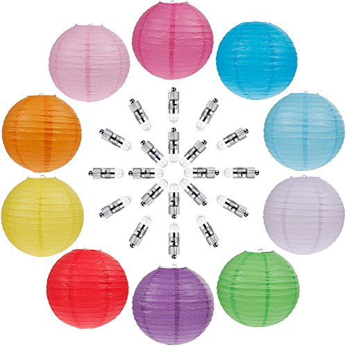 Vastar 10 Packs Colorful Round Paper Lanterns for