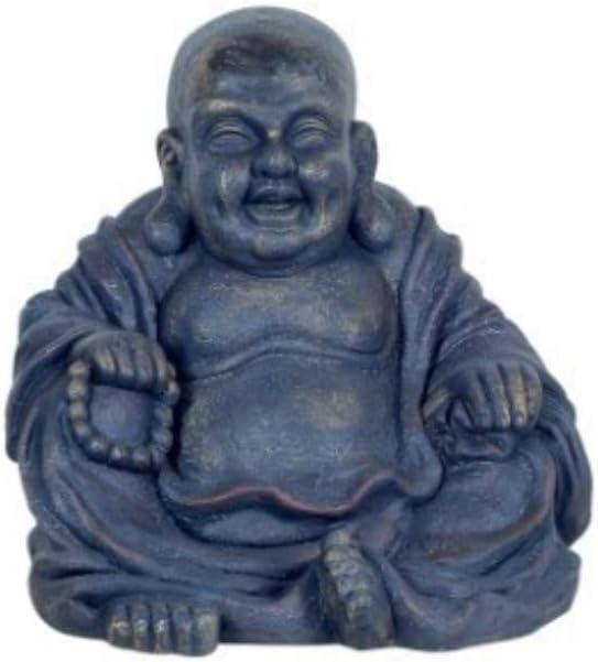 CAPRILO Figura Budista Decorativa de Resina Buda Feliz Sentado Adornos y Esculturas Regalos Originales 33 x 33 x 30 cm. Decoraci/ón Hogar