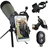 AccessoryBasics Binocular Spotting Scope Telescope Microscope periscope adapter Mount for iPhone X 8 7 6s Plus Galaxy S8 S9 Note LG G6 V30 Pixel Smartphone video image recording [FREE REMOTE SHUTTER]
