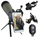 AccessoryBasics Binocular Spotting Scope Telescope Microscope periscope adapter Mount for iPhone X 8 7 6s Plus Galaxy S8 S7 EDGE LG G6 V30 Pixel Smartphone video image recording [FREE REMOTE SHUTTER]