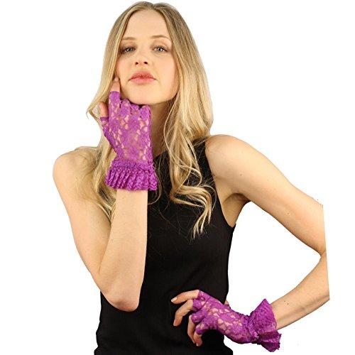 Fancy Floral Half Fingerless Lace Ruffle Cuff Wrist Dressy Formal Gloves Purple ()