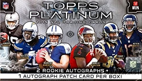 2015 Topps Platinum NFL Football Factory Sealed HOBBY Box with THREE(3) AUTOGRAPH Cards & 100 Cards! Plus (5) X-FRACTOR PARALLEL,(1) BLACK REFRACTOR & (1) Platinum Die-Cut ROOKIE CARDS! Loaded!