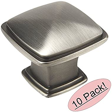Cosmas® 4391AS Antique Silver Modern Cabinet Hardware Knob - 1-1/4  Inch Square - 10 Pack