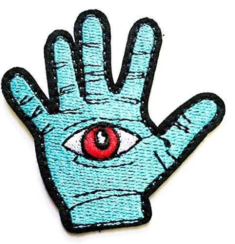 PP Patch Blue Hand Ghost Magic Eye Red Eye Halloween Logo Sticker Movie Cartoon Kid Patch Symbol Jacket T-Shirt Patch Sew Iron on Embroidered Sign Badge Costume ()