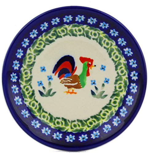 Polish Pottery Dessert Plate Small (Country Rooster Theme) Signature UNIKAT