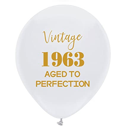 White Vintage 1963 Balloons 12inch 16pcs Men And Women Gold 55th Birthday Party