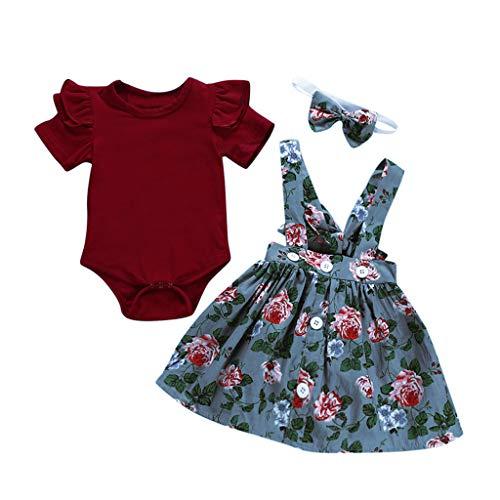 Sameno 3Pcs Toddler Kids Baby Girls Overalls Skirt +Headband+Romper SummerDress Skirt Dress Clothing Outfit (Blue, 3-6 Months)