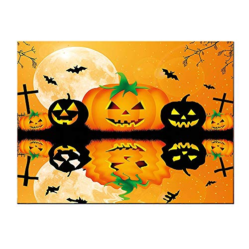 SATVSHOP Art Work painting-60Lx32W-Spooky Carved Halloween Pumpkin Full Moon with Bats and Grave by Lake Orange Black.Self-Adhesive backplane/Detachable Modern Decorative. -