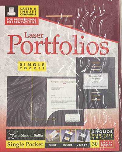 PostFax LaserSlide Burgundy Single Pocket Laser Portfolio with Title Sheets, 4 Pack (Portfolios Single Pocket)