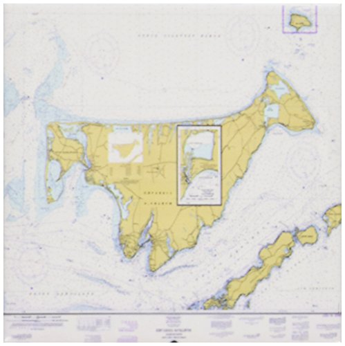 3dRose Print of Nautical Map of Marthas Vineyard - Ceramic Tile Coasters, Set of 4 ()
