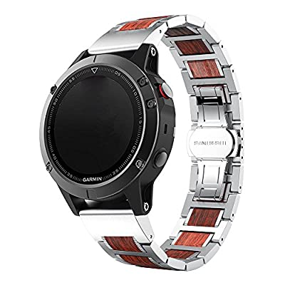LDFAS Fenix 5 Plus Band, Natural Wood Red Sandalwood Stainless Steel Metal Watch Band, 22mm Quick Release Easy Fit Strap for Garmin Fenix 5/5 Plus/Forerunner 935 Smartwatch