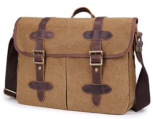 Izacu Flocc-BUG Lona bolso mensajero bolsa para hombre bolso de escuela (34*10*23cm, khaki) khaki