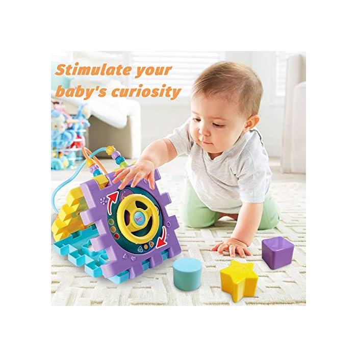 5187onlmrDL Juguete de Bebé Multipropósito 6 en 1: -Clasificador de formas, un piano multimodo, volante, juego de abrir puertas, juego de marcación números, engranajes y cuentas. Compre 1 juguete, su bebé podrá obtener más educación. Gran Regalo de Juguete Educativo para Niños- Este juguete es ideal para cumpleaños/Navidad de niños. Anime a su hijo a reconocer formas, colores y más a medida que desarrollan habilidades motoras y buena resolución de problemas. Su regalo reflexivo pondrá una gran sonrisa en un pequeña y bonita cara Creativo e Interactivo- Nuestros cubos de actividad son vibrantes con bonitos rostros de animales de dibujos animados que atraen la atención de los niños rápidamente y les agregan más diversión durante el tiempo de juego