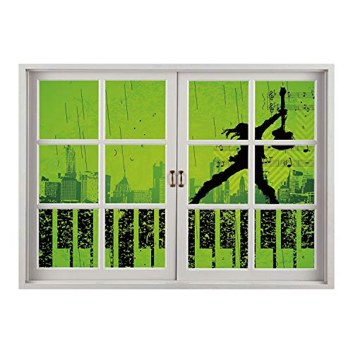 SCOCICI Creative Window View Home Decor/Wall Décor-Popstar Party,Music in The City Theme Singer with Electric Guitar on Grunge Backdrop,Lime Green Black/Wall Sticker Mural ()