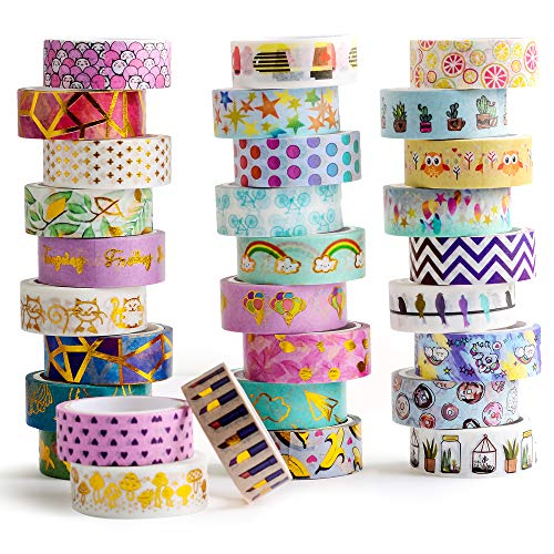 - 30 Rolls Gold Foil Washi Tape - 15mm Wide Japanese Masking Tape for Scrapbook, Bullet Journal, Planner, Arts & Crafts