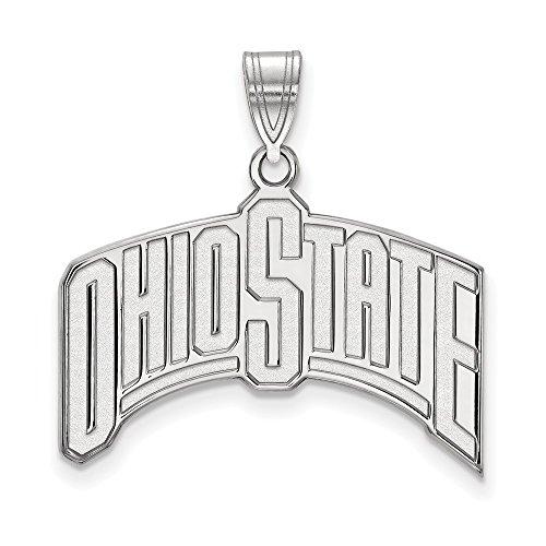 10k White Gold LogoArt Official Licensed Collegiate Ohio State University (OSU) XL Pendant by Logo Art