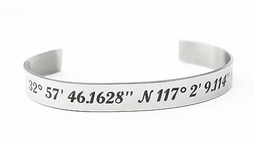 Coordinates Graduation Custom Name Personalized Latitude Longitude Engraved Bracelets SET OF 3 CUFFS Bridesmaid Wedding
