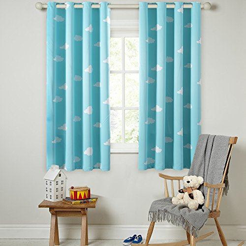 Panels Soft Microfiber Room Darkening Thermal Insulated Heating Against Grommet Top Blackout Sky Blue Cloud Kids Curtains Drapers 63 By 52 Inch