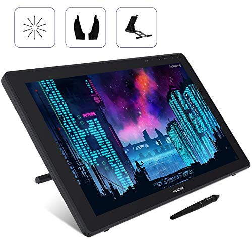 2020 HUION Kamvas 22 Graphics Drawing Monitor Android Support, 8192 Pressure Levels Battery-Free Stylus Tilt, Anti-Glare Large Screen Pen Display, with Adjustable Stand/2 Gloves/10 Pen Nibs, 21.5inch
