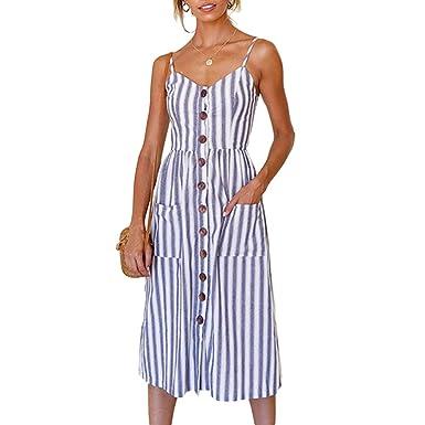 4d68f57c5d Leorvun Women Spaghetti Strap Dress Striped Cami Swing Casual a Line Holiday  Dresses Big Striped S